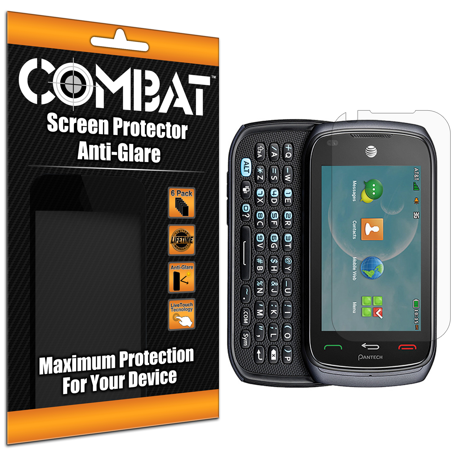 Pantech Vybe Combat 6 Pack Anti-Glare Matte Screen Protector