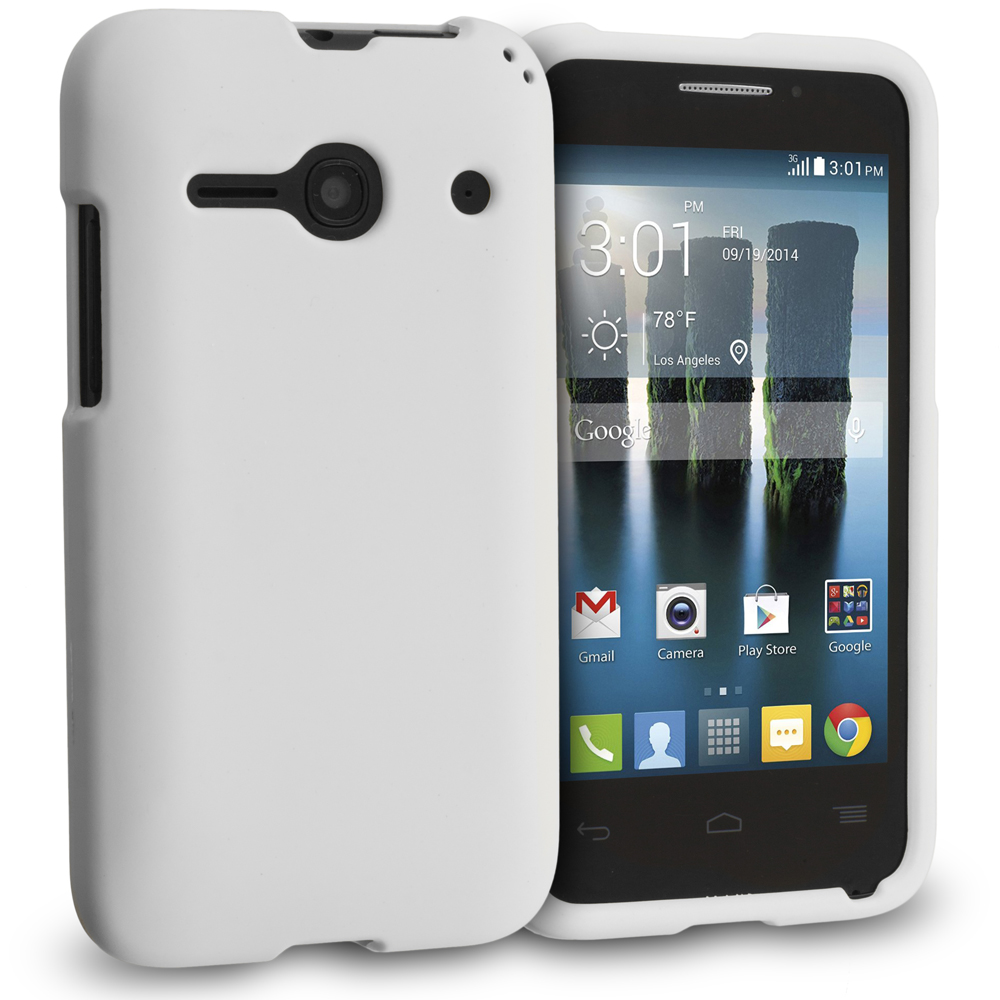 Alcatel One Touch Evolve 2 White Hard Rubberized Case Cover