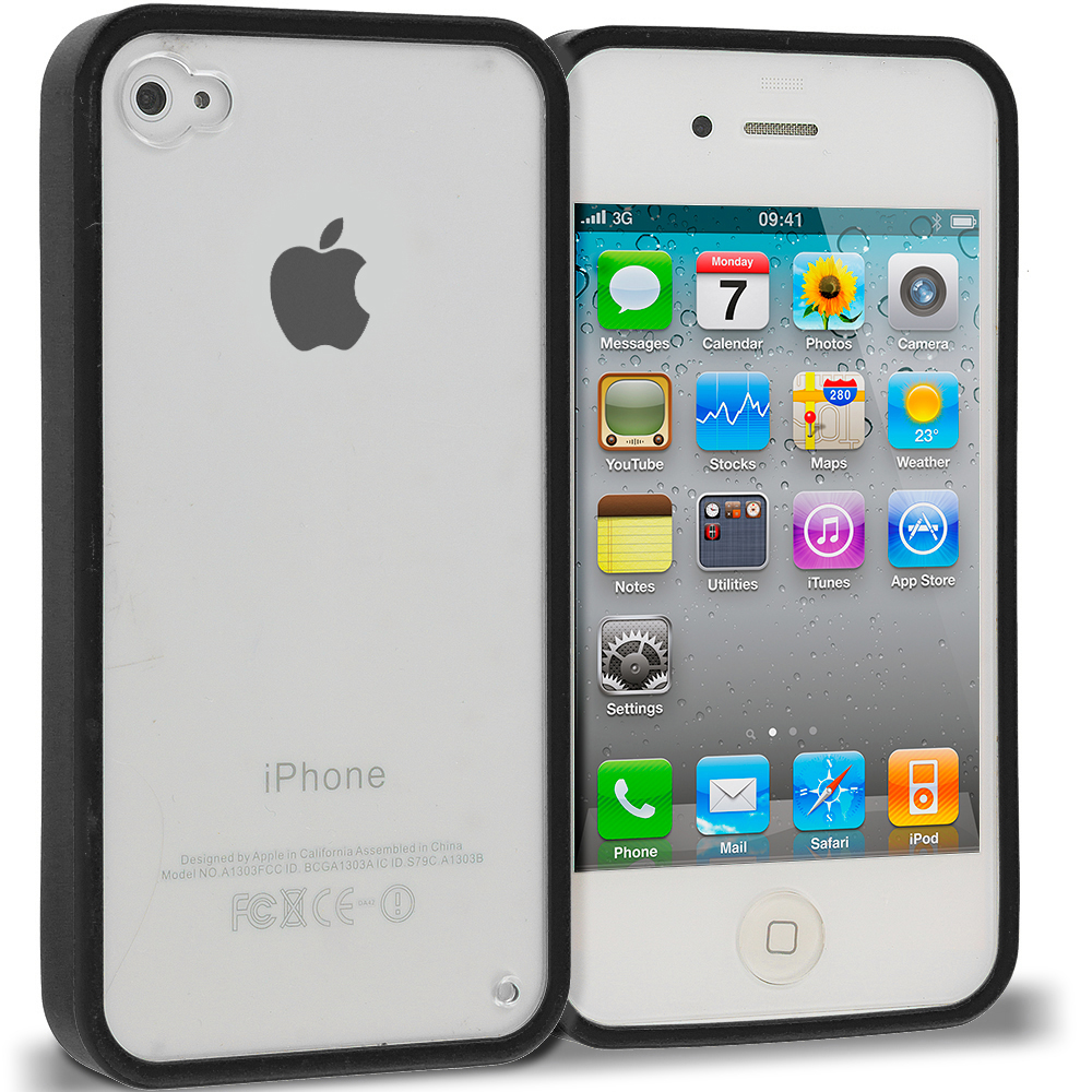 Apple iPhone 4 / 4S Black TPU Plastic Hybrid Case Cover