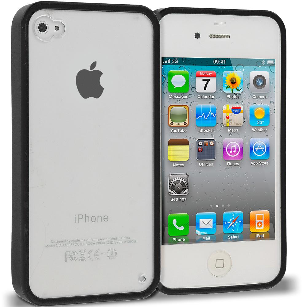 Apple iPhone 4 Black TPU Plastic Hybrid Case Cover