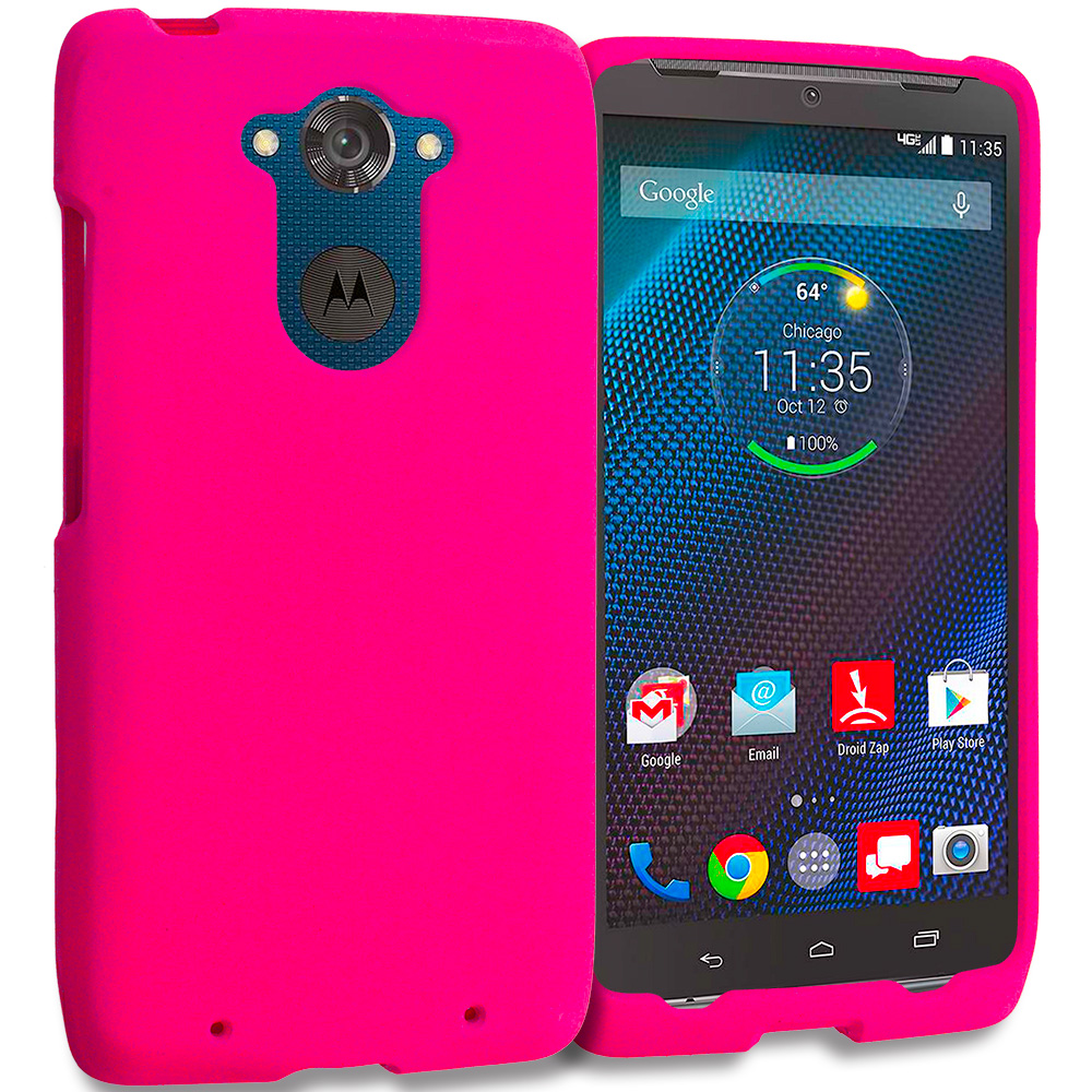 Motorola Droid Turbo Hot Pink Hard Rubberized Case Cover