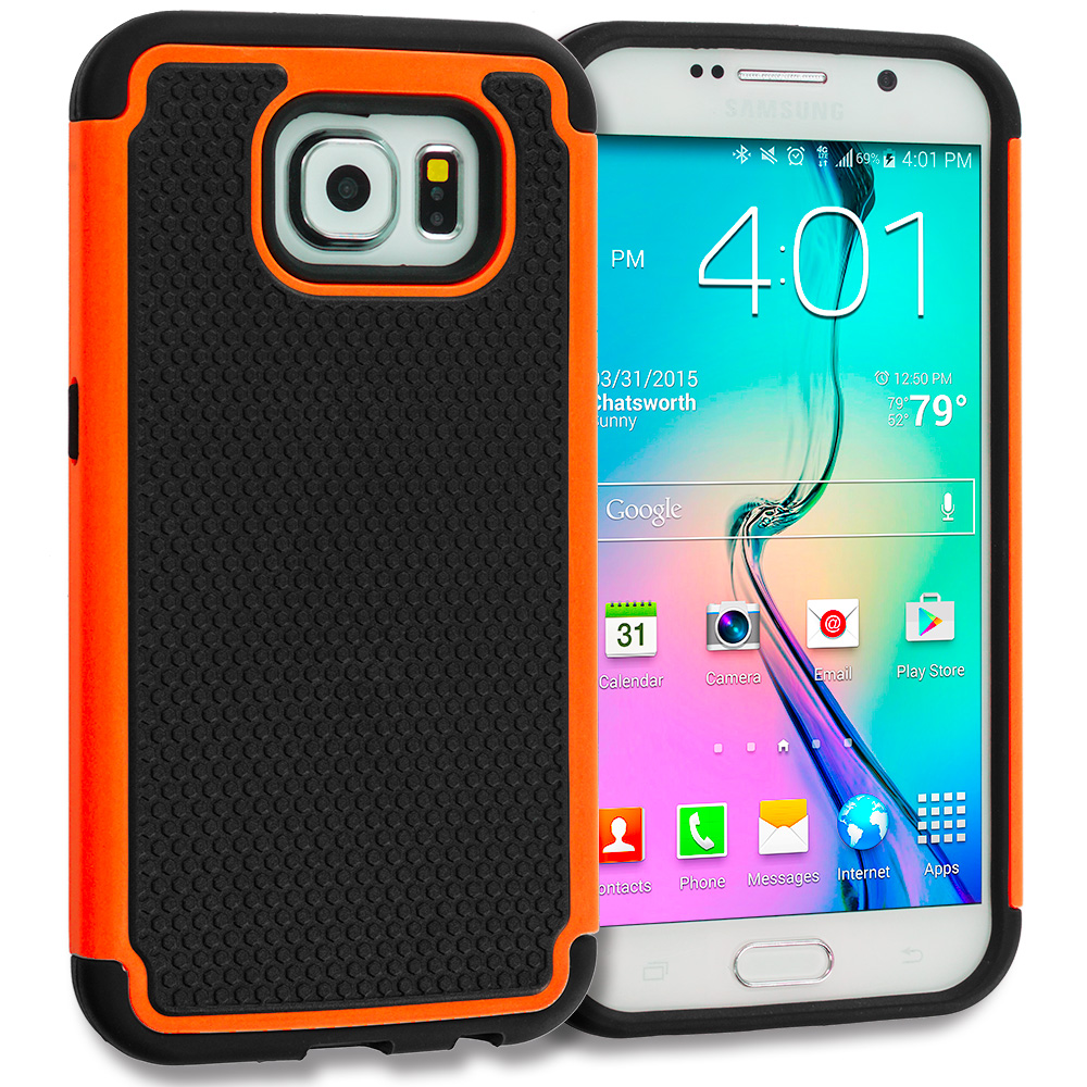 Samsung Galaxy S6 Combo Pack : Black / Red Hybrid Rugged Grip Shockproof Case Cover : Color Black / Orange
