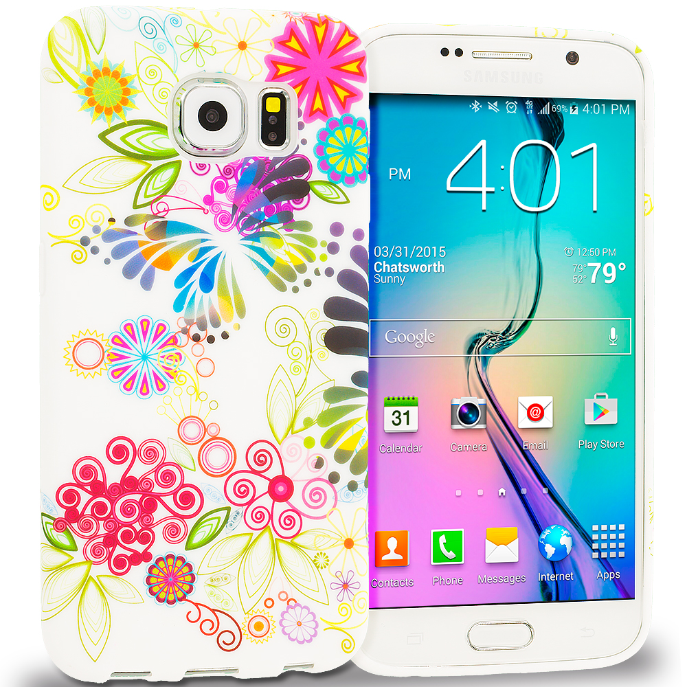 Samsung Galaxy S6 Flower Rainbow Colorful TPU Design Soft Rubber Case Cover