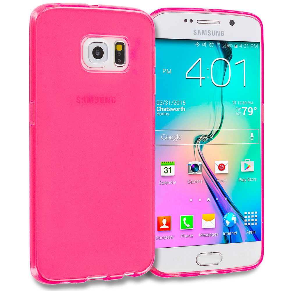 Samsung Galaxy S6 Edge 3 in 1 Combo Bundle Pack - Plain TPU Rubber Skin Case Cover : Color Hot Pink Plain