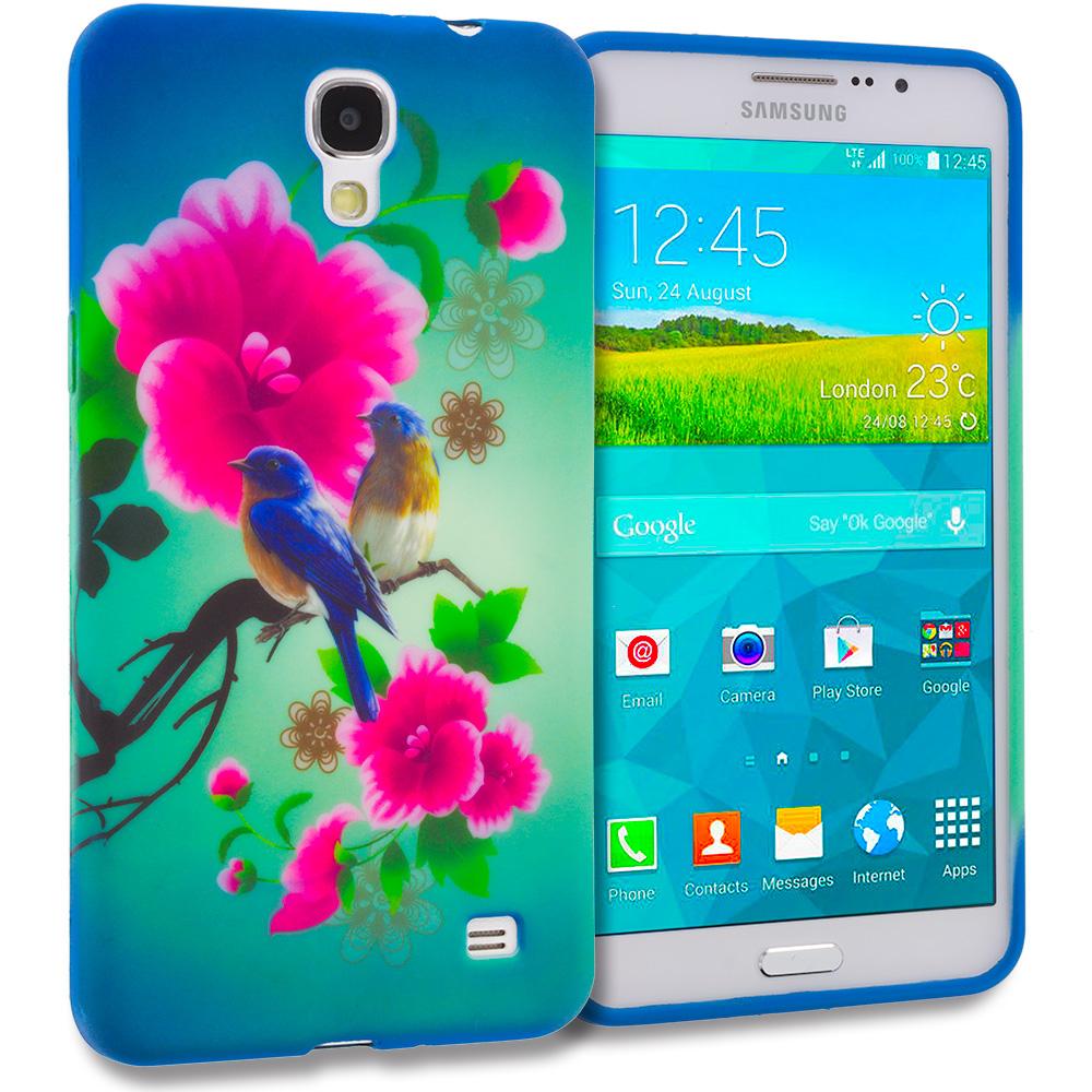 Samsung Galaxy Mega 2 Combo Pack : Blue Bird Pink Flower TPU Design Soft Rubber Case Cover : Color Blue Bird Pink Flower