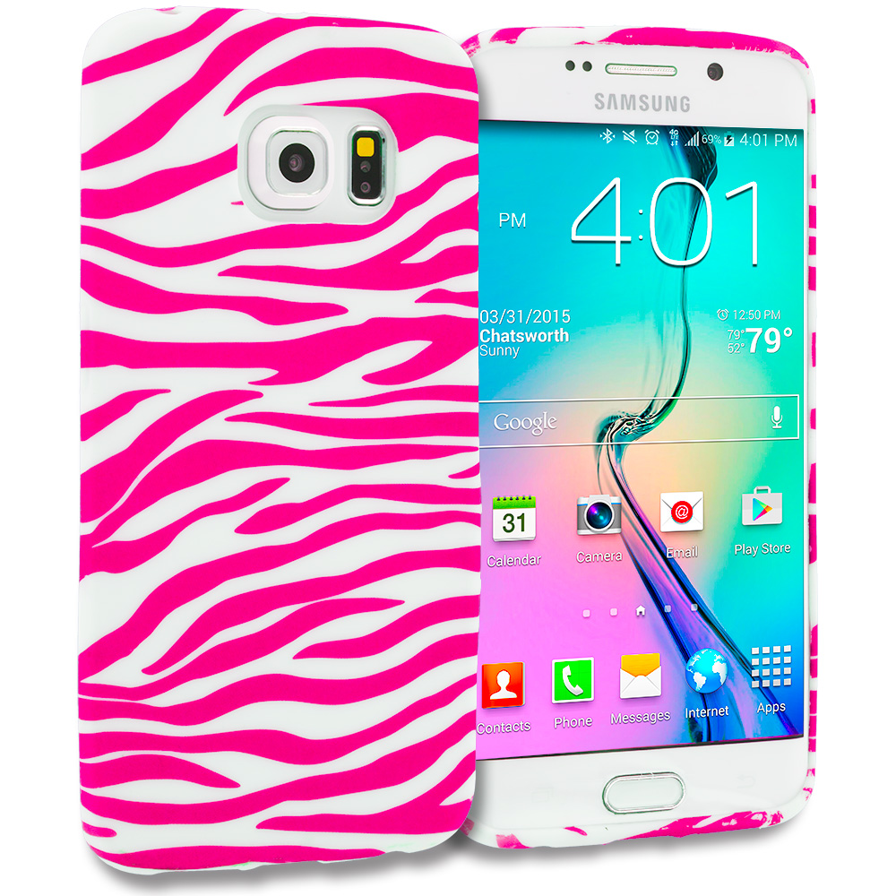 Samsung Galaxy S6 Edge Pink / White Zebra TPU Design Soft Rubber Case Cover