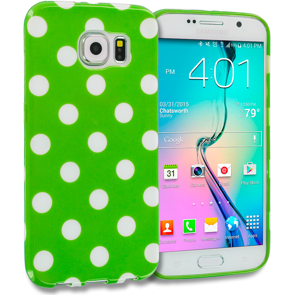 Samsung Galaxy S6 Edge Neon Green / White TPU Polka Dot Skin Case Cover