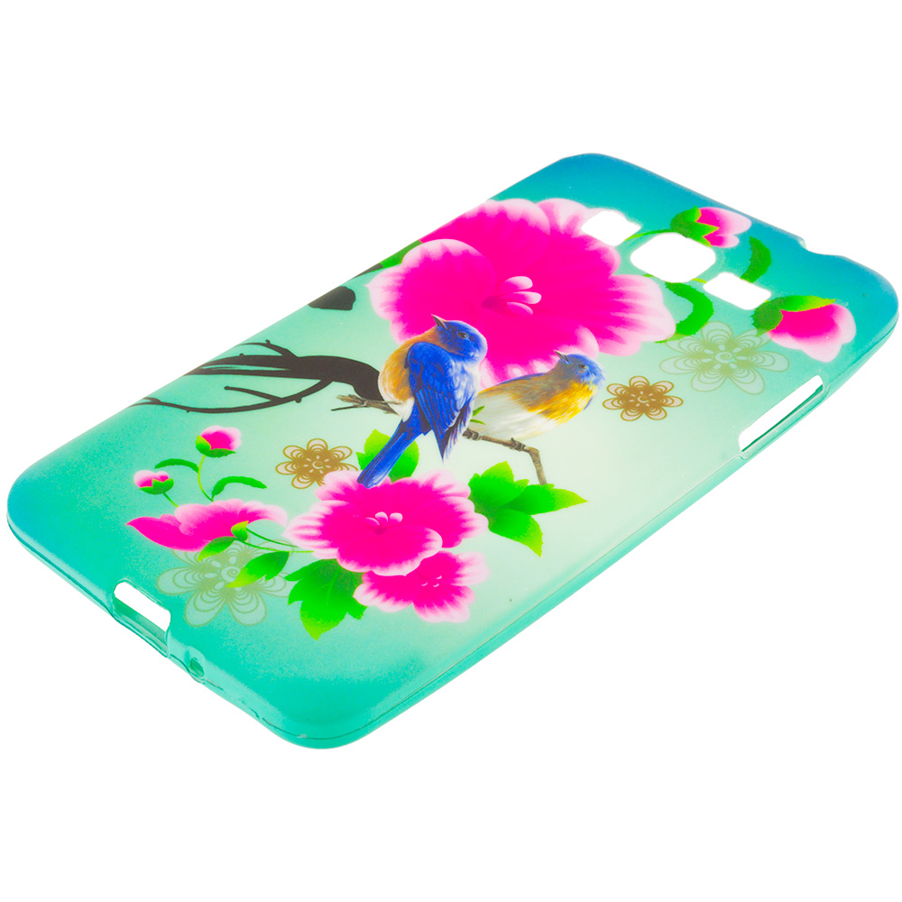 Samsung Galaxy Grand Prime LTE Blue Bird Pink Flower TPU Design Soft Rubber Case Cover