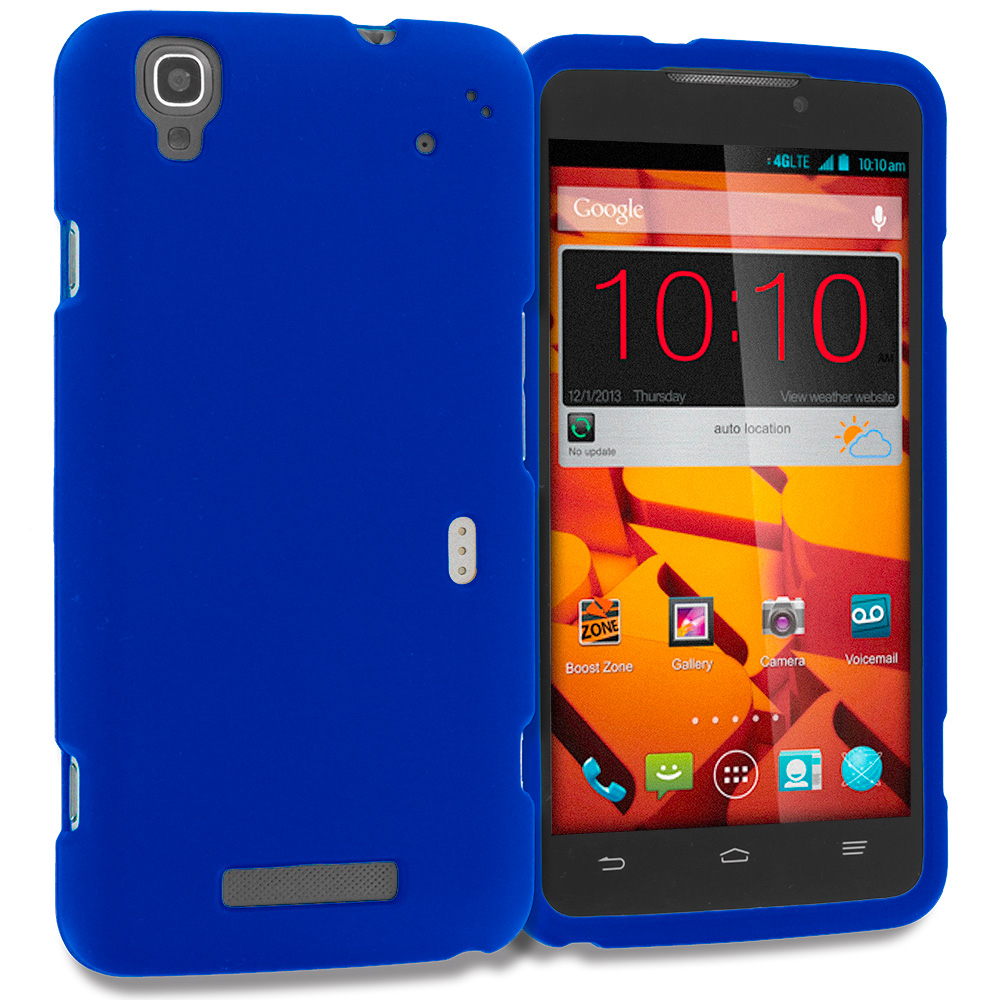 ZTE Boost Max Max Plus + N9521 Blue Hard Rubberized Case Cover