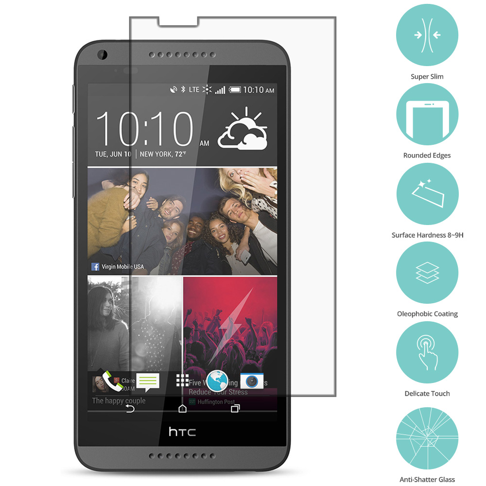 HTC Desire 816 Clear Tempered Glass Film Screen Protector Clear