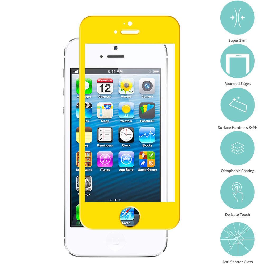 Apple iPhone 5 / 5S / 5C Combo Pack : Red Tempered Glass Film Screen Protector Colored : Color Yellow