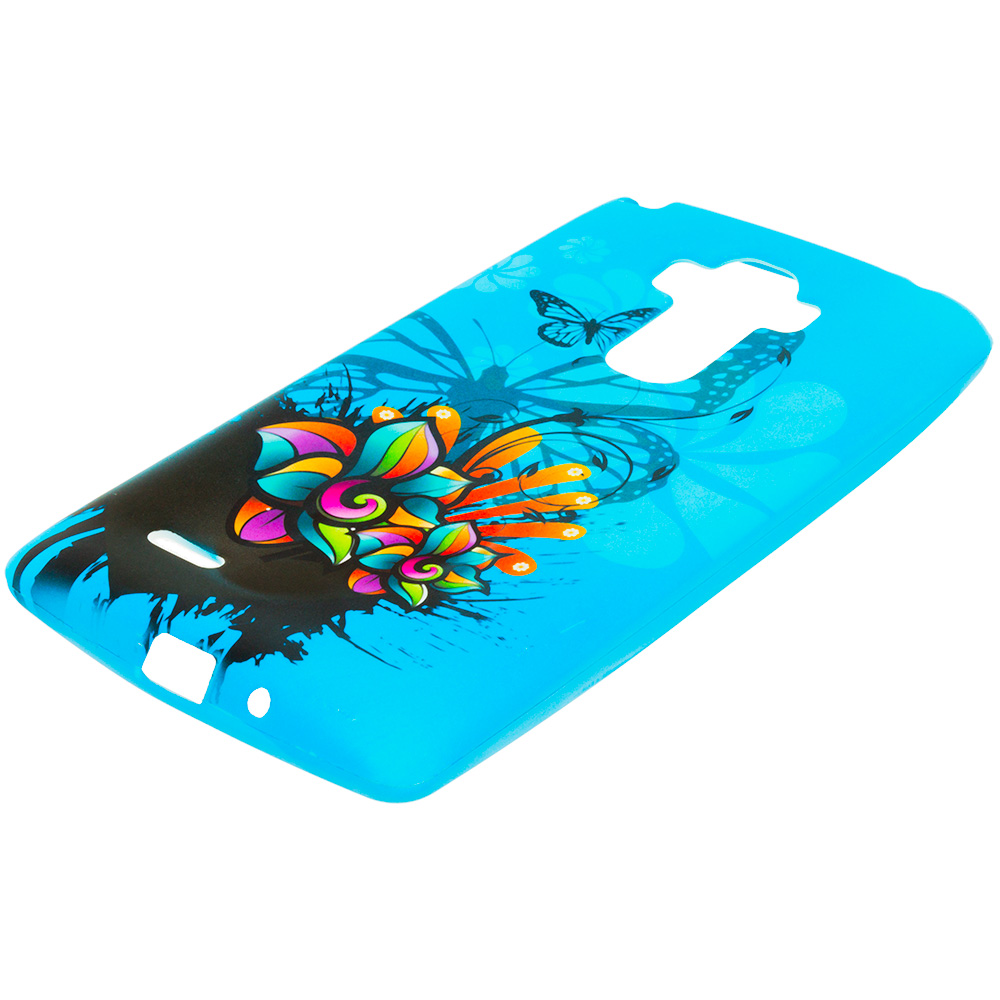 LG G Stylo Blue Butterfly Flower TPU Design Soft Rubber Case Cover