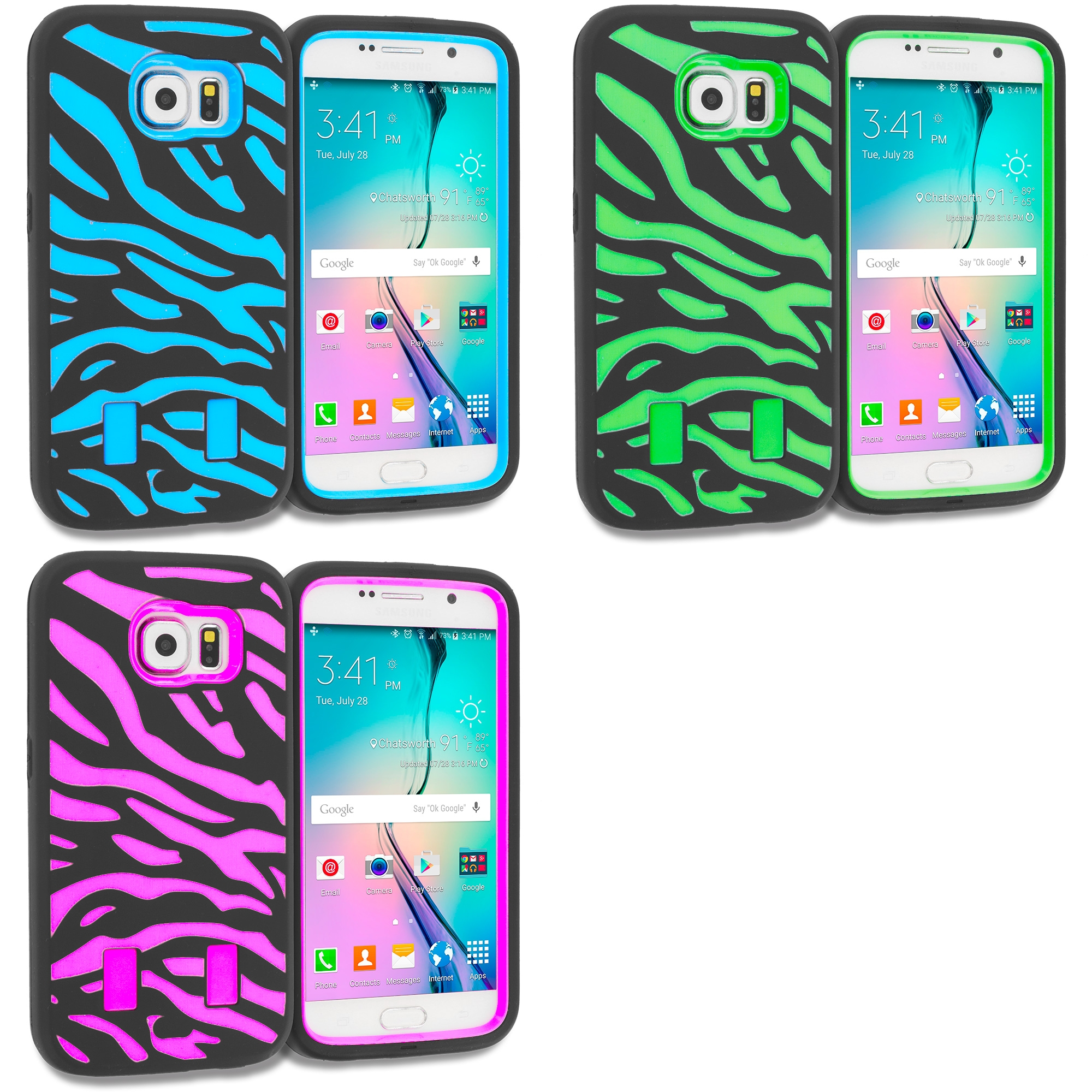 Samsung Galaxy S6 Combo Pack : Black Baby Blue Hybrid Zebra Hard/Soft Case Cover
