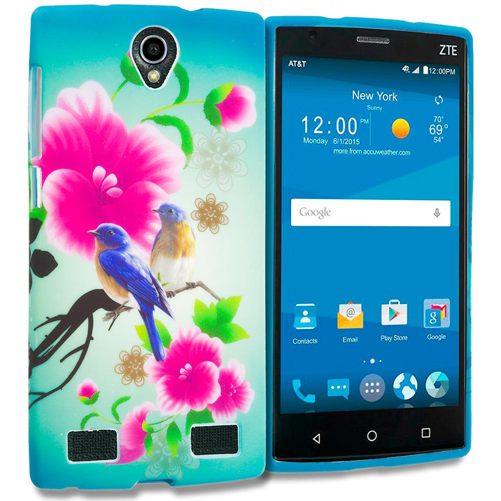 ZTE Zmax 2 Blue Bird Pink Flower TPU Design Soft Rubber Case Cover