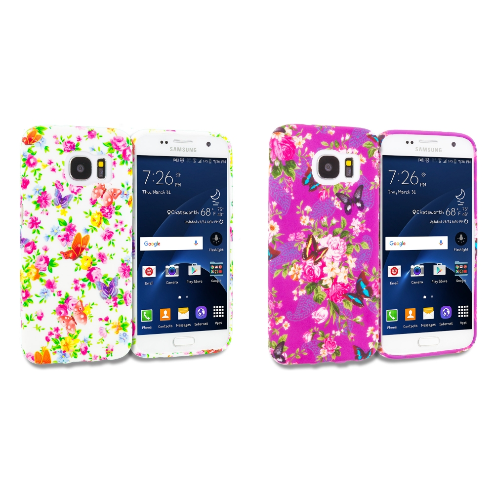 Samsung Galaxy S7 Combo Pack : Colorful Flower TPU Design Soft Rubber Case Cover