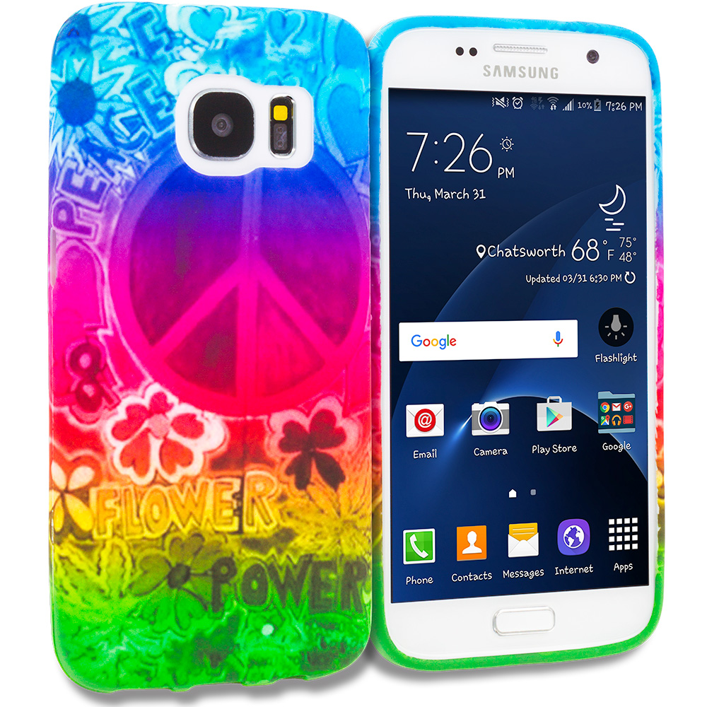 Samsung Galaxy S7 Combo Pack : Flower Power TPU Design Soft Rubber Case Cover : Color Flower Power