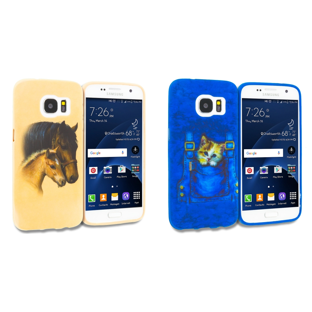 Samsung Galaxy S7 Combo Pack : Horse TPU Design Soft Rubber Case Cover