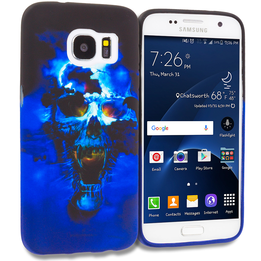 Samsung Galaxy S7 Edge Blue Skulls TPU Design Soft Rubber Case Cover