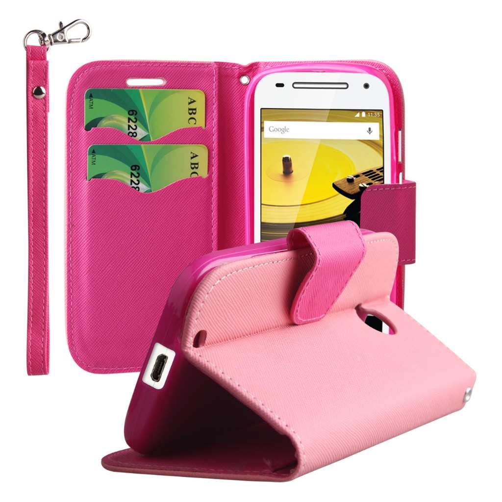 Motorola Moto E 2nd Generation - Pink MPERO FLEX FLIP 2 Wallet Stand Case