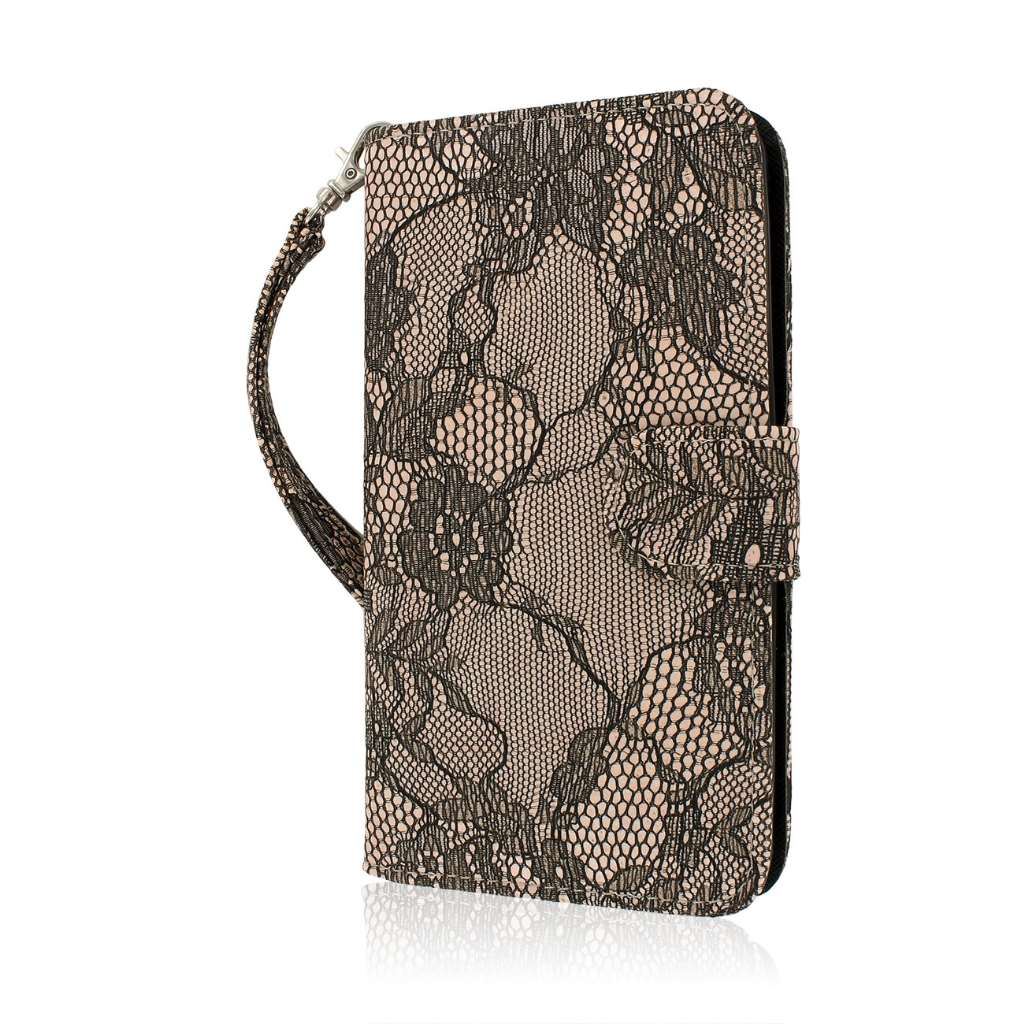 LG G Pro 2 - Black Lace MPERO FLEX FLIP Wallet Case Cover