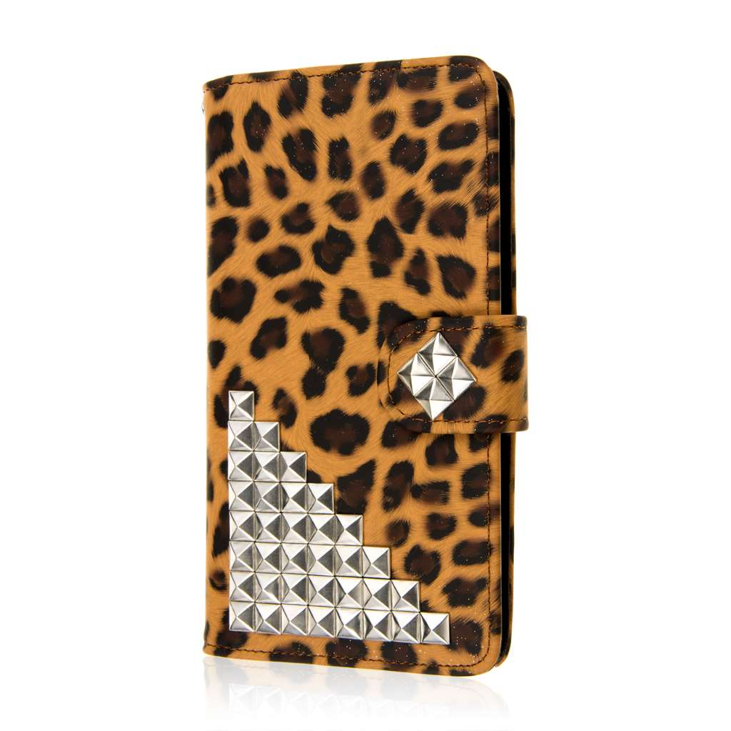 Samsung Galaxy Note 4 - Studded Leopard MPERO FLEX FLIP Wallet Case Cover