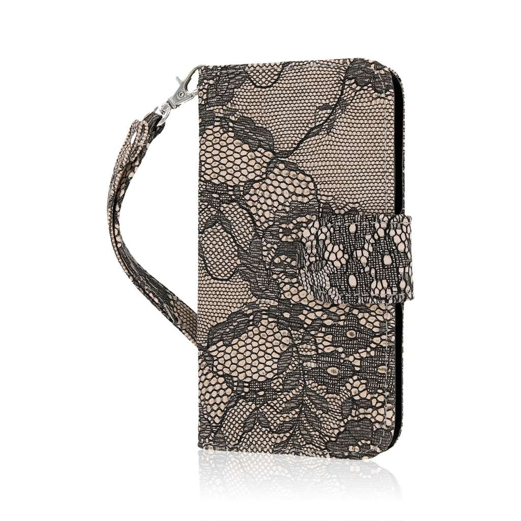 LG Lucid 3 - Black Lace MPERO FLEX FLIP Wallet Case Cover