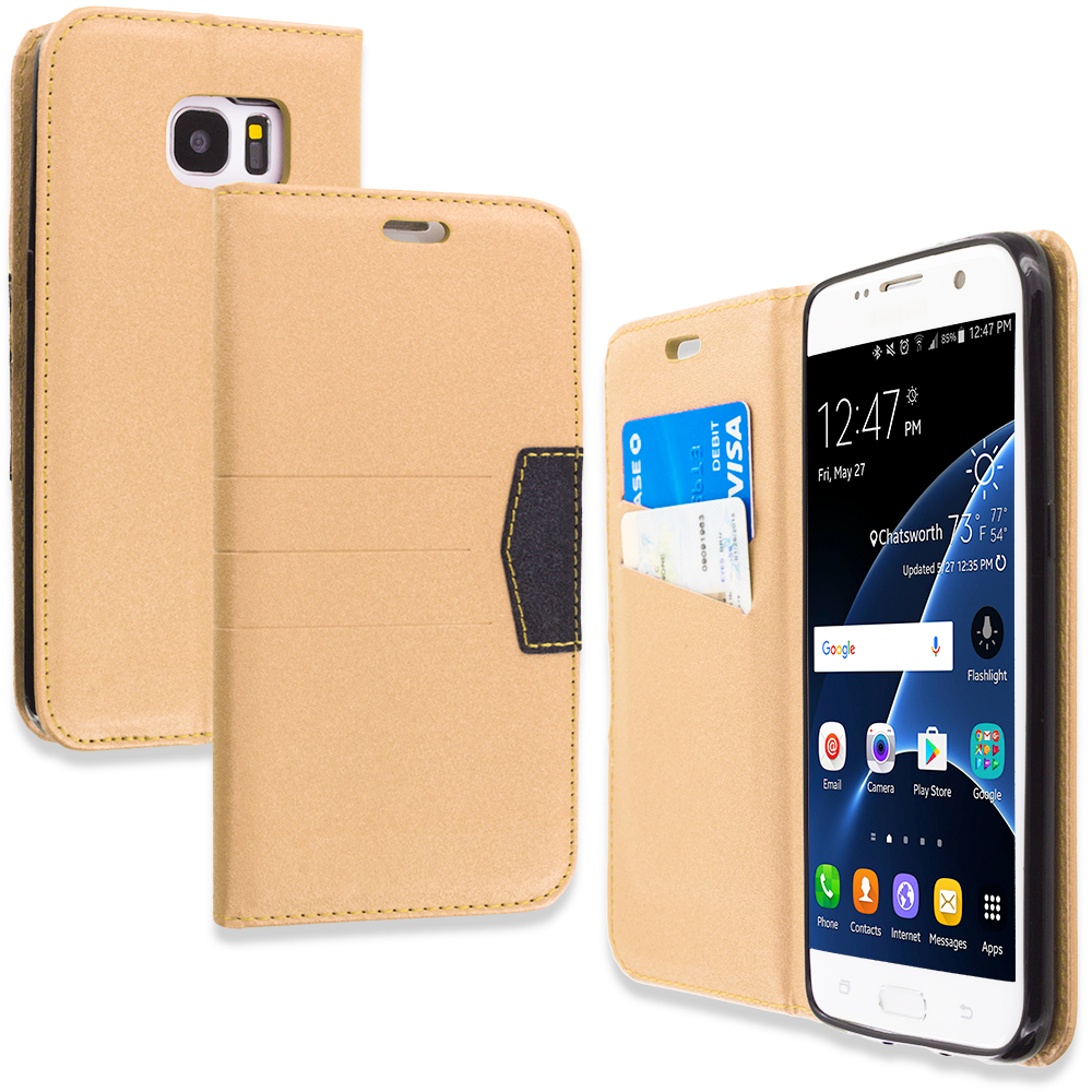 Samsung Galaxy S7 Edge Gold Wallet Flip Leather Pouch Case Cover with ID Card Slots