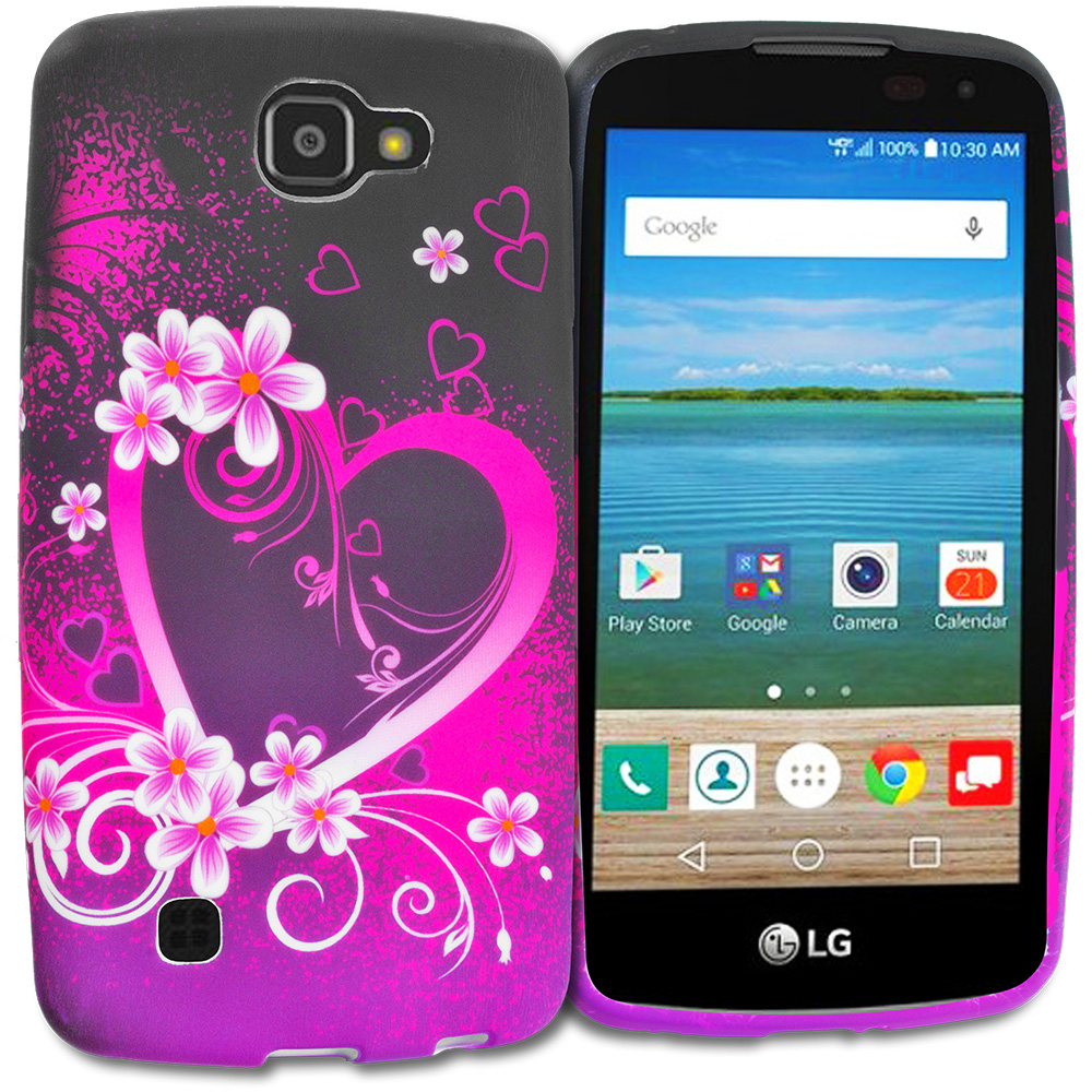 LG Spree Optimus Zone 3 VS425 K4 Purple Love TPU Design Soft Rubber Case Cover