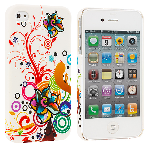 Apple iPhone 4 / 4S Autumn Flower Hard Rubberized Back Cover Case