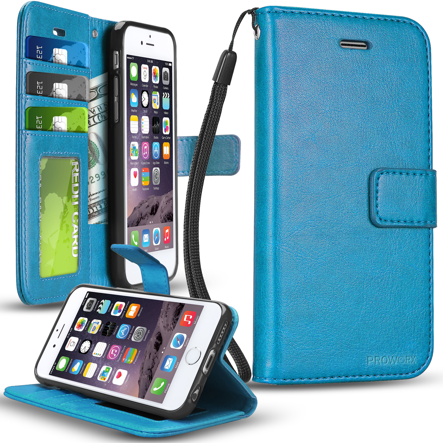 Apple iPhone 6 6S (4.7) Baby Blue ProWorx Wallet Case Luxury PU Leather Case Cover With Card Slots & Stand