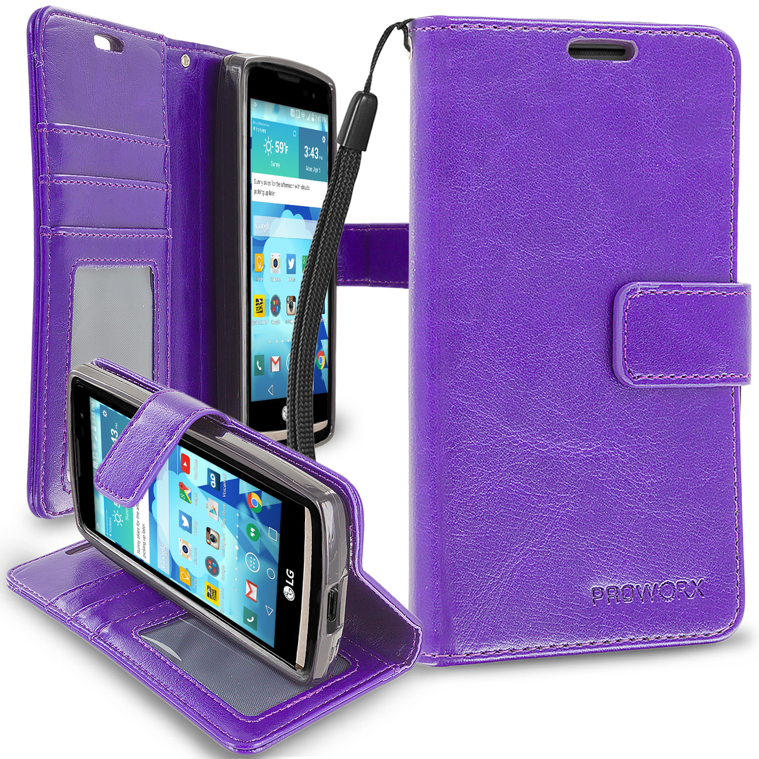 LG Tribute 2 Leon Power Destiny Purple ProWorx Wallet Case Luxury PU Leather Case Cover With Card Slots & Stand