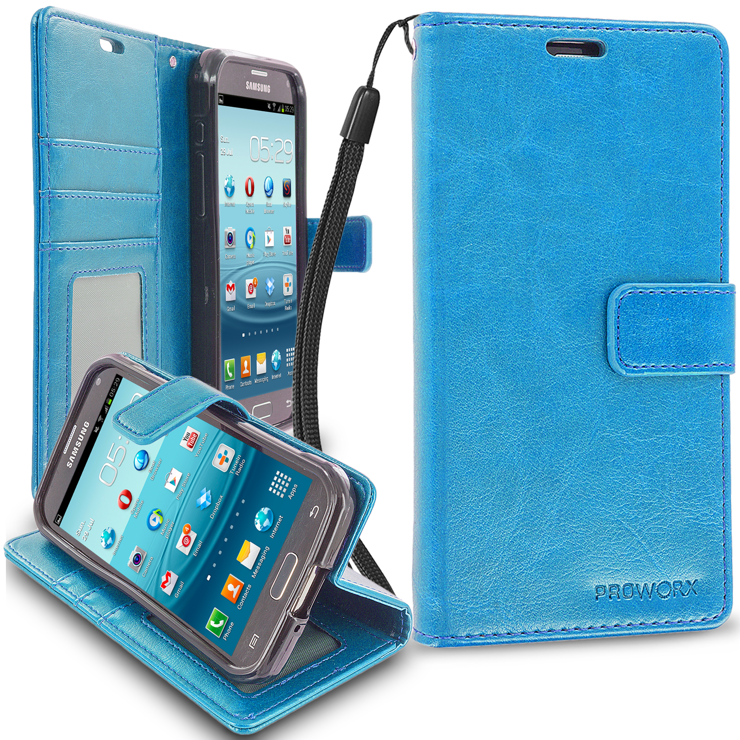 Samsung Galaxy S5 Active Baby Blue ProWorx Wallet Case Luxury PU Leather Case Cover With Card Slots & Stand