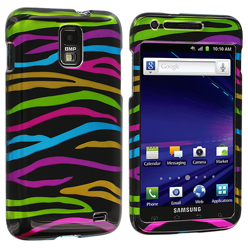 Samsung Skyrocket i727 Rainbow Zebra on Black Design Crystal Hard Case Cover