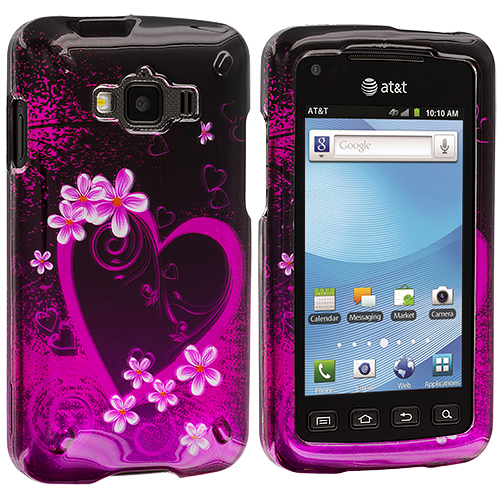 Samsung Rugby Smart i847 Purple Love Design Crystal Hard Case Cover