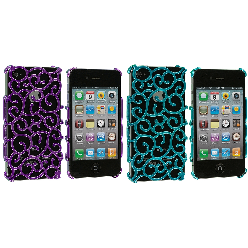 Apple iPhone 4 / 4S 2 in 1 Combo Bundle Pack - Purple Teal Floral Crystal Hard Back Cover Case