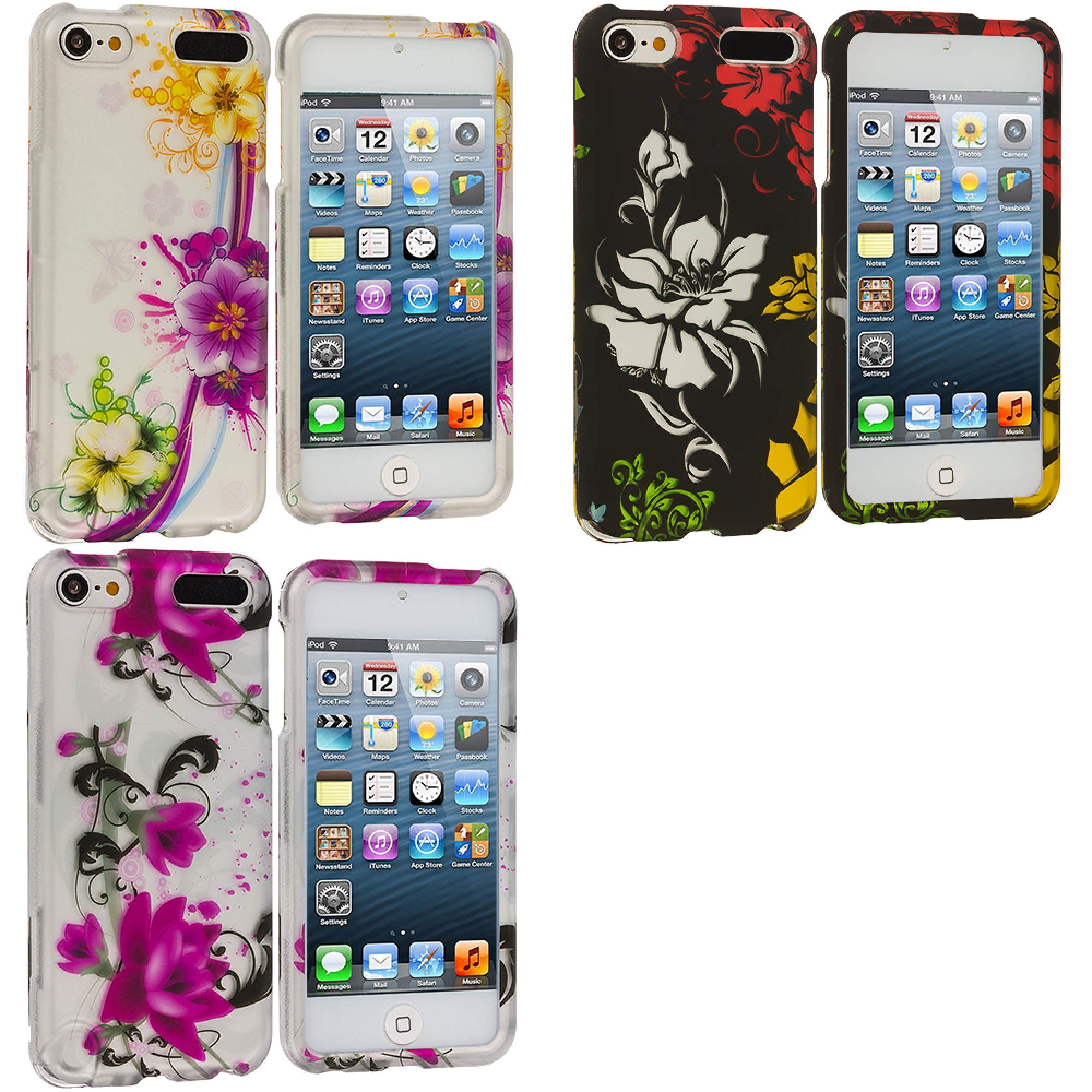 Apple iPod Touch 5th 6th Generation 3 in 1 Combo Bundle Pack - Flower Chain Hard Rubberized Design Case Cover