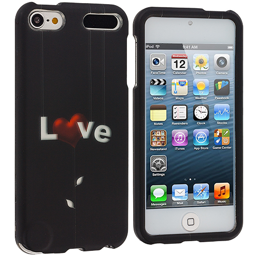 Apple iPod Touch 5th 6th Generation Love Letter n Black Hard Rubberized Design Case Cover