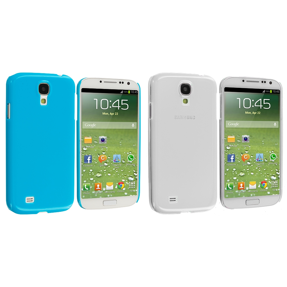 Samsung Galaxy S4 2 in 1 Combo Bundle Pack - Clear Blue Crystal Hard Back Cover Case