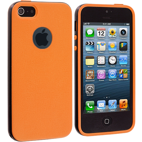 Apple iPhone 5/5S/SE Orange / Black Hybrid TPU Bumper Case Cover