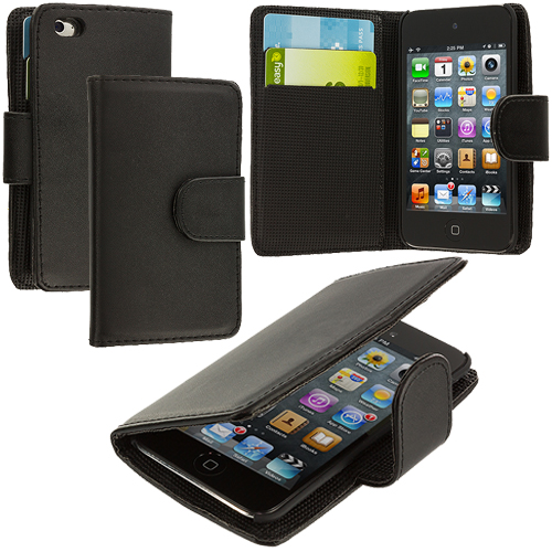 Apple iPod Touch 4th Generation Black Smooth Leather Wallet Pouch Case Cover with Slots