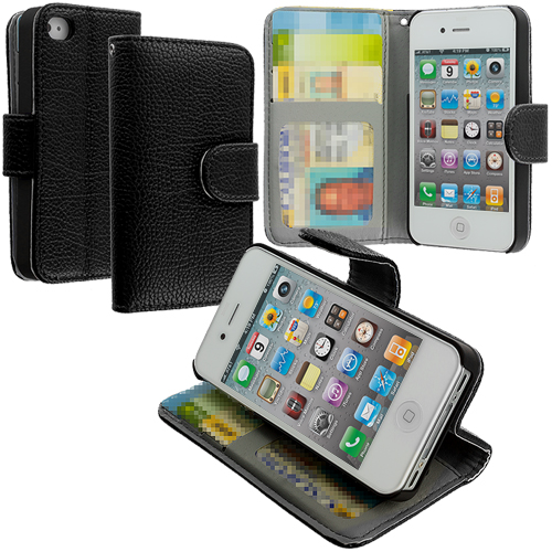 Apple iPhone 4 Black Texture Leather Wallet Pouch Case Cover with Slots