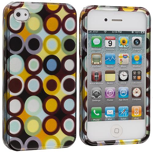 Apple iPhone 4 / 4S Rainbow Polka Dot Design Crystal Hard Case Cover