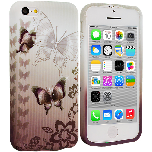 Apple iPhone 5C Black Butterfly TPU Design Soft Case Cover