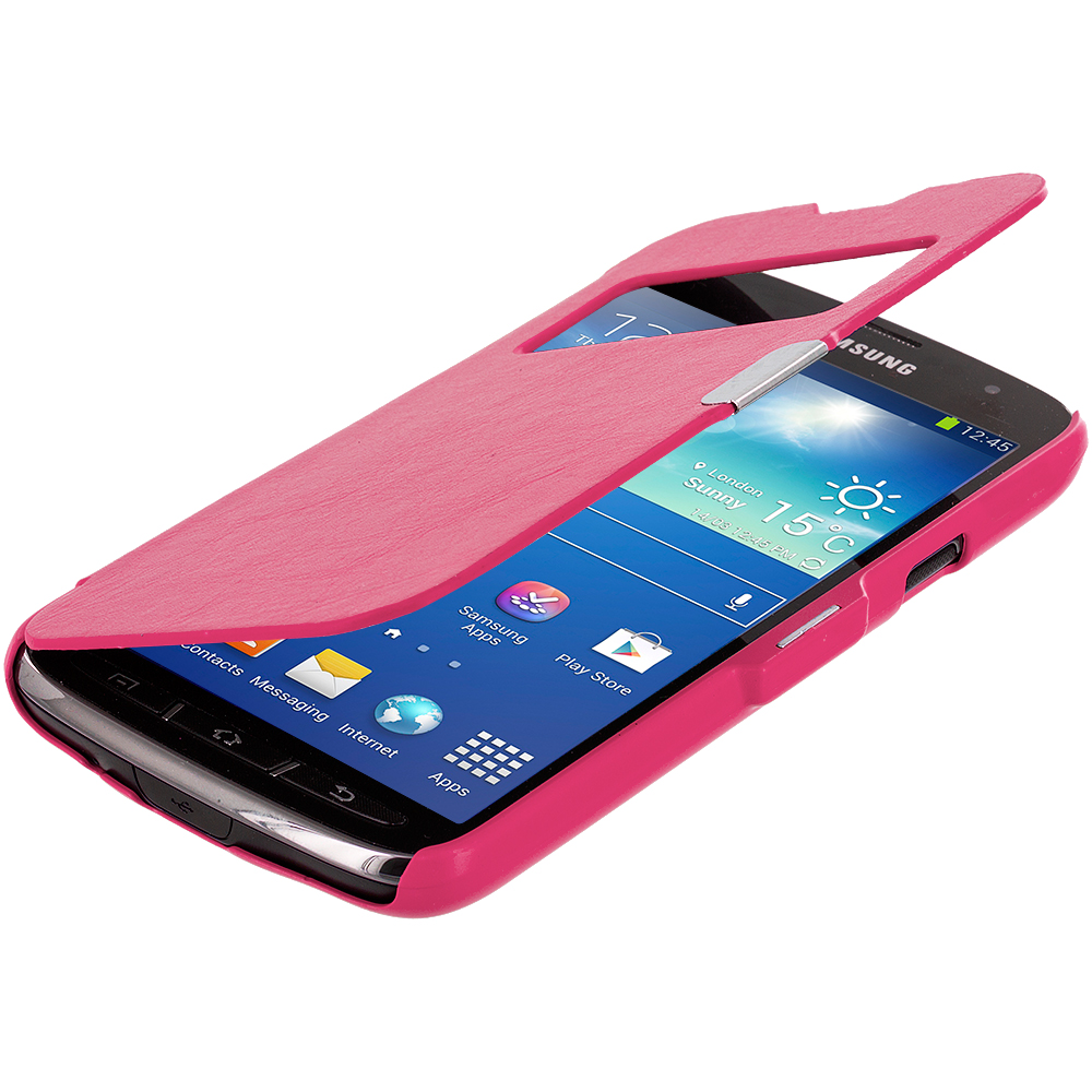 Samsung Galaxy S4 Active i537 Hot Pink (Open) Magnetic Wallet Case Cover Pouch