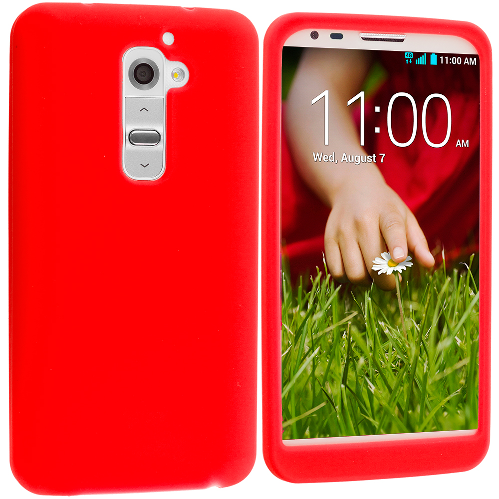 LG G2 Verizon Red Silicone Soft Skin Case Cover