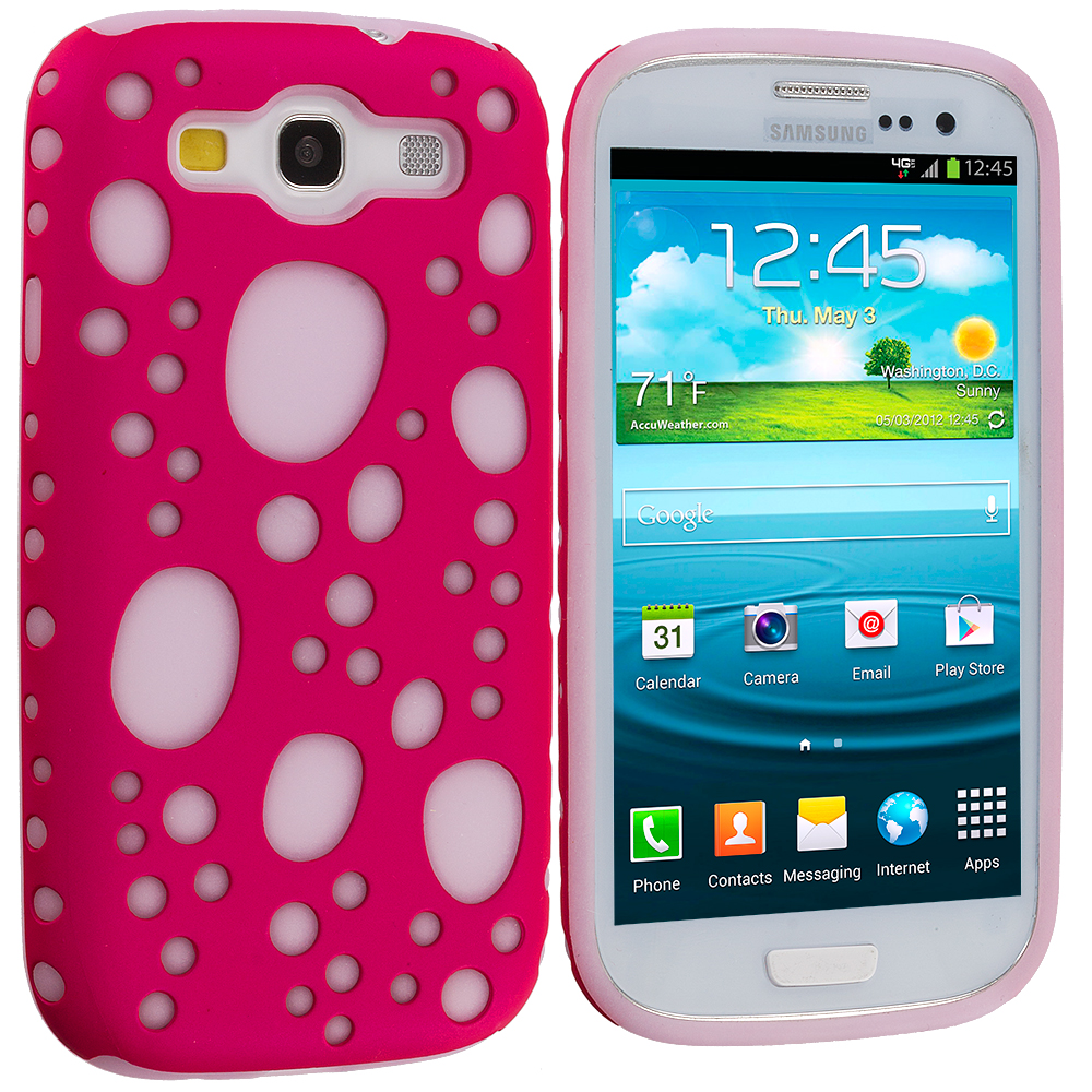 Samsung Galaxy S3 Pink Hybrid Bubble Hard/Soft Skin Case Cover