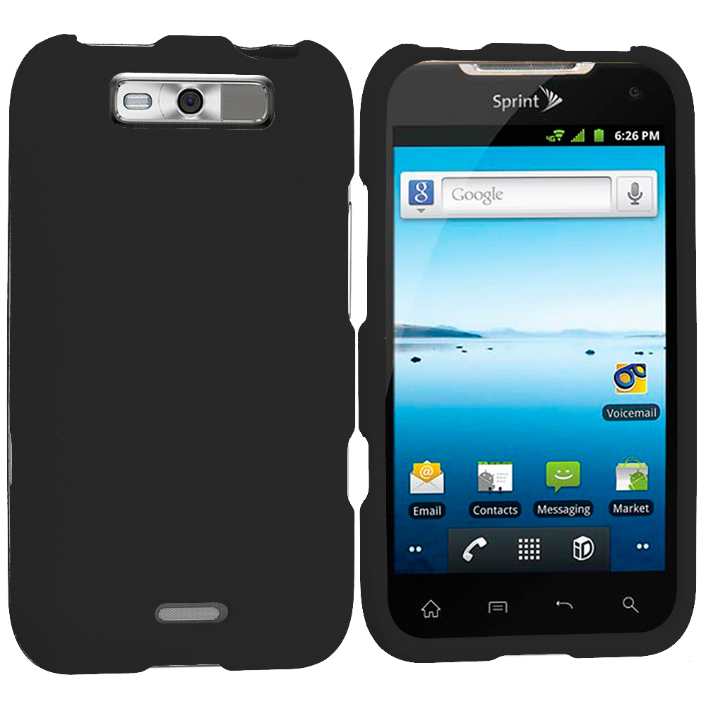 LG Viper / Connect Black Hard Rubberized Case Cover