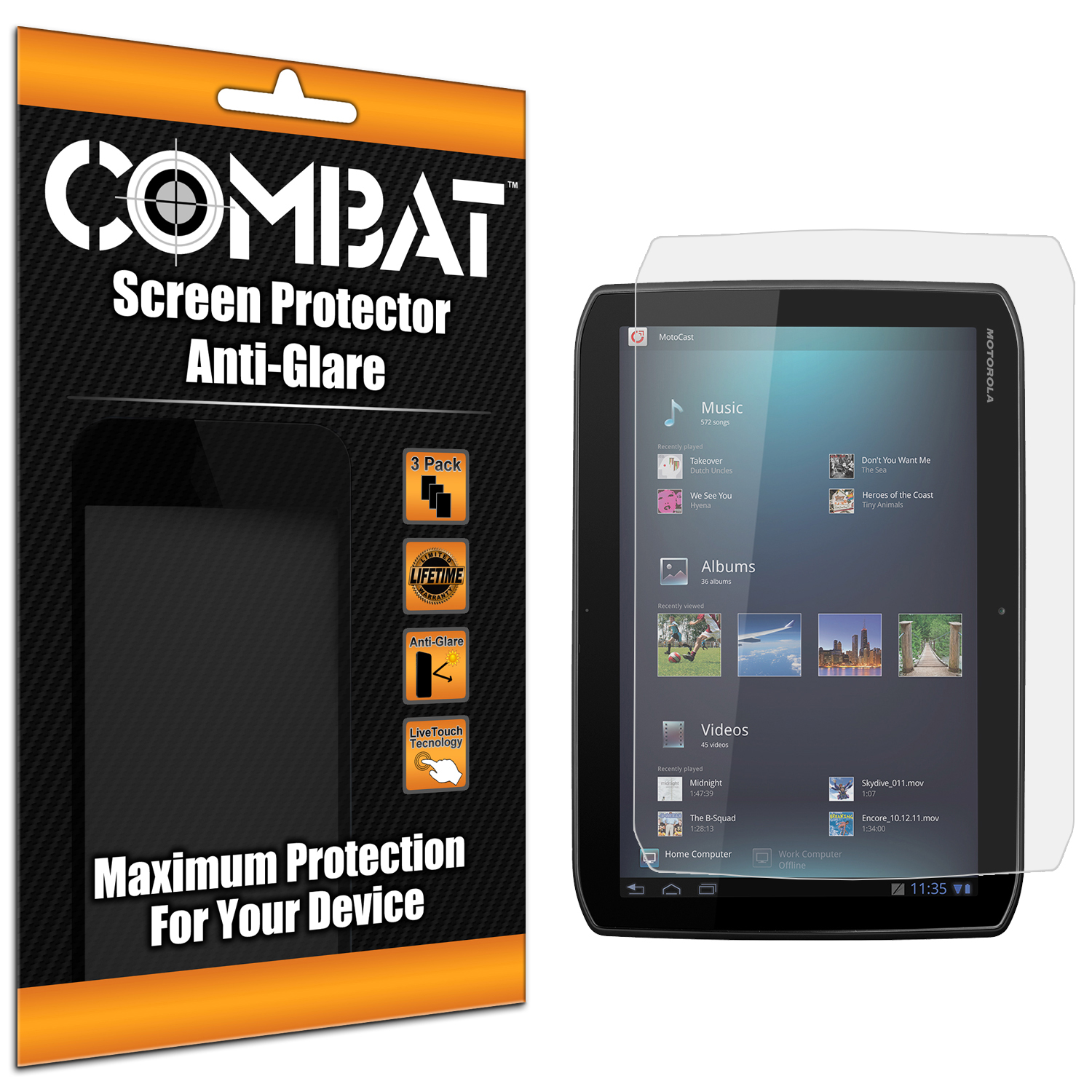 Motorola Droid XYBoard 8.2 Combat 3 Pack Anti-Glare Matte Screen Protector