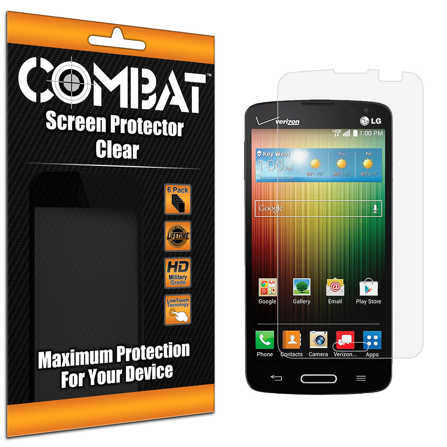 LG Lucid 3 Combat 6 Pack HD Clear Screen Protector