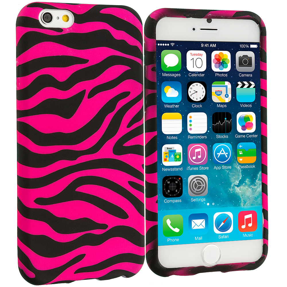 Apple iPhone 6 6S (4.7) 8 in 1 Combo Bundle Pack - TPU Design Soft Case Cover : Color Black / Hot Pink Zebra